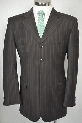 Vanetti Mens Brown 4 Button Pinstripe Pleated Front 2 Piece Suit 40L 32x32