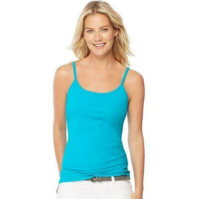 2fffbade53bbb 00 Womens Stretch Cotton Camisole with Built In Shelf Bra Flying Turquoise  - 2XL