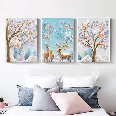 Nordic Deer Flower Tree Canvas Wall Painting Painting Poster Home Decor Faddish