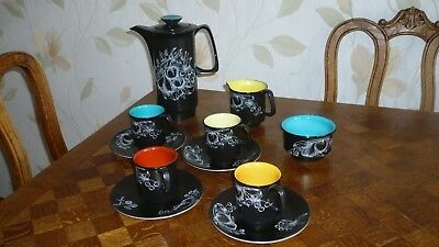 Vintage Retro 1960's Crown Royal Devon Fieldings Black coffee set