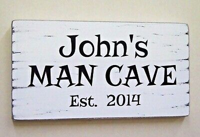 Man Cave Sign Personalised Wooden Rustic Shabby Vintage Chic Gift Idea