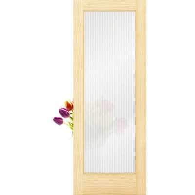 Frameport RGL-PD-1L-6-2/3X2-2/3 Reeded Glass 32 Inch by 80 Inch 1 Lite Interior