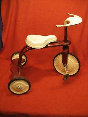 Antique Vintage 1930's Metalcraft Tricycle Kids Toy Ride on Mini Trike  darkRed
