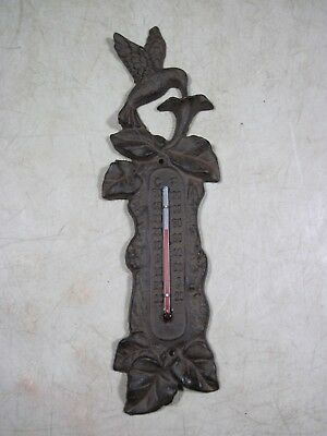 Vintage Cast Iron Wall Mount Hummingbird Thermometer Ornate Indoor outdoor Decor