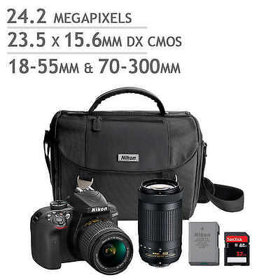 NEW Nikon D3400 DSLR Camera 32GB Bundle 2.4 MP 23.5 x 15.6mm 18-55mm 70-300mm