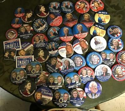 Lot Of 50 Assorted Hillary Clinton Presidential Campaign Pinbacks - Lot B