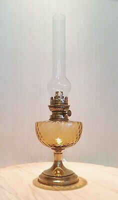 Vintage French Oil Lamp with Warm Amber Glasswork & Original Glass Chimney