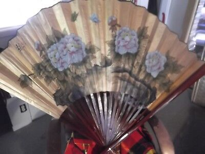 """Large 40"""" by 60"""" Asian Wall Fan, Bamboo and Teak, Flower Decor"""