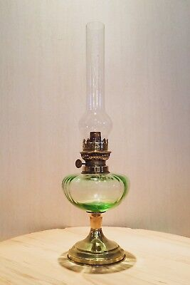 Vintage French Oil Lamp with Delicate Green Glasswork & Original Glass Chimney