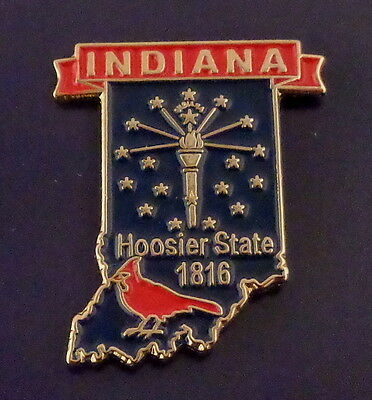 Indiana State Shaped Map Lapel Pin IN Hoosier State 1816 CARDINAL state bird!