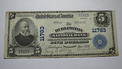 $5 1902 Burlington Wisconsin WI National Currency Bank Note Bill! Ch. #11783 VF!