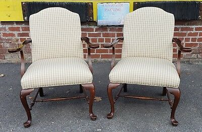 Pair Ethan Allen Georgian Court Cherry Queen Anne Open Fireside Armchairs c1990s