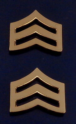 "SGT Chevron small 3/4"" Gold Pair Collar Pins Rank Insignia police ECONOMY"
