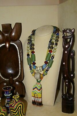 Old Borneo Unique Tribal Ethnic Dayak Iban Tribe Necklace Glass Beads Shell Bone