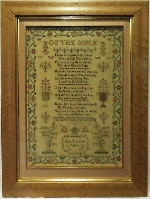 EARLY 19TH CENTURY VERSE & MOTIF SAMPLER BY ELIZA. M. SALTMER AGED 11 - c.1840