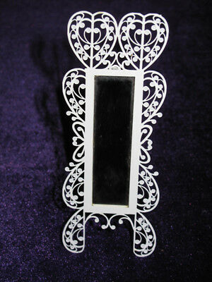 Vintage Dollhouse Miniature Ornate White Metal Full Length MIRROR with Stand New
