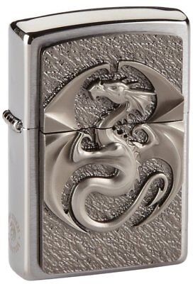 Zippo lighter, Dragon, 3-D Emblem, Chrome, NEW, MIB