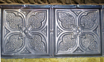 12 x 24 Antique Victorian Ceiling Tin Tile Gothic Quatrefoil Flower Shabby Chic