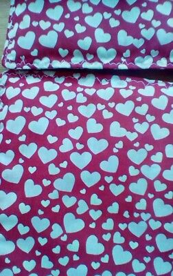 """Dolls Pram Cot Quilt Set 12"""" X10"""" Red With White Hearts, New"""