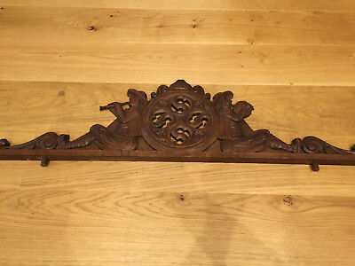 25999 Antique French Carved Wood Architectural  Pediment From Brittany