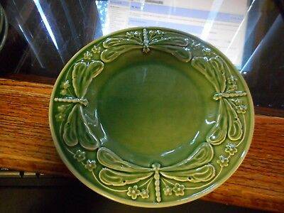 "Green Bordallo Pinheiro Dragonfly Salad 8"" Plate (s) Made in Portugal"