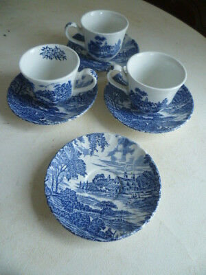 Vintage Ridgway Pottery Staffordshire Blue & White Meadowsweet Tea Cup & Saucers