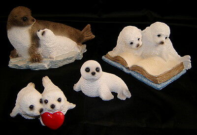 Lot (4) STONE CRITTER LITTLES Harp Seal Pups Figurine Collectibles (w/ 3 Boxes)