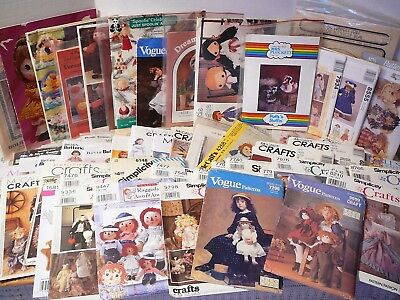 Vintage & New sewing patterns - Stuffed Animals/Dolls & Doll Clothes, 64 U-Pick