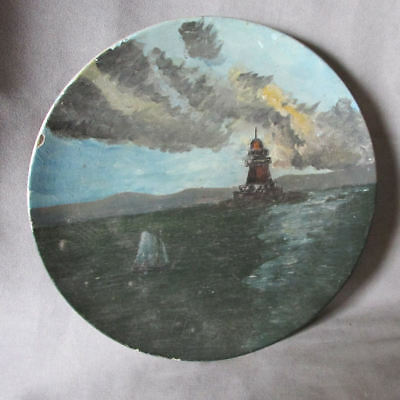 Antique c1910 Folk Art Maritime Oil Painting, Lighthouse & Sailing Ship