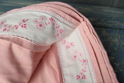 """FRENCH PINK VINTAGE COTTON SHEET RIBBON EMBROIDERED 110x89"""" #A80"""