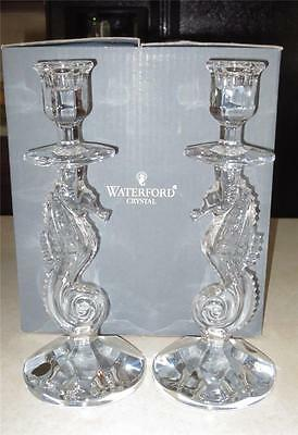 Beautiful Pair Waterford Crystal Seahorse Candlesticks Candle Holder NIB MIB