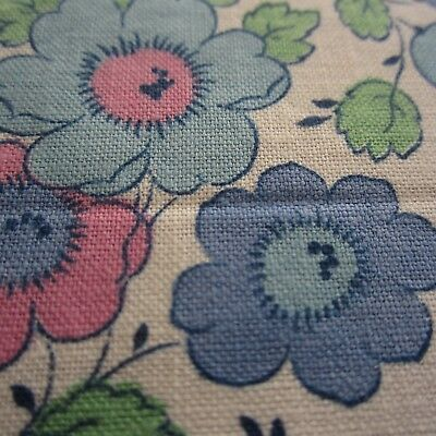 50cm x 45cm Blue Pink Green Floral Vintage Cotton Fabric 1940s 1950s Sewing