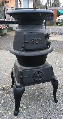 Antique Vintage Small Round Potbelly Wood Stove Black Iron Cabin Boat SHIP IT!