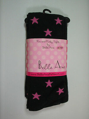 Belle Ame Girls Tights Ages 9 to 12 Years Black With Pink Stars Sz 7-8-10