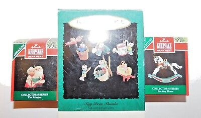 3 Boxes Used Hallmark Miniature Handcrafted Ornaments