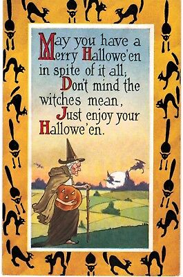 Merry Halloween Gibson Black Cat Border Old Witch Unused