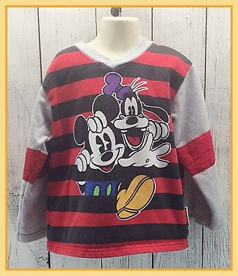 🔴 Vintage Mickey & Co Boys Mickey Mouse & Goofy Long Sleeve Sweatshirt Size 5/6