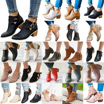 Women Low Mid Block Heel Ankle Boots Ladies Chunky Booties Casual Shoes 10 Types
