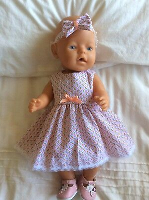"""Doll Clothes to fit 17"""" Baby Born doll ~ Dress & hband  ~ White Peach Flowersin"""