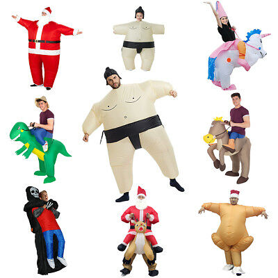 Adult Inflatable Fancy Dress Costume Unisex Rider Carry On Xmas Outfit Fat Suit