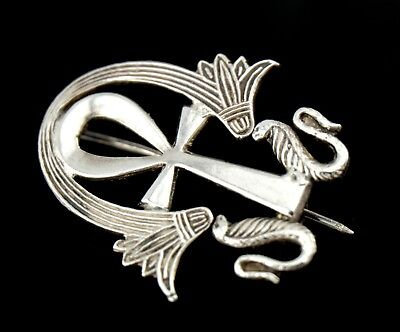 Vtg Sterling Silver Old Egyptian Revival Ankh Pin
