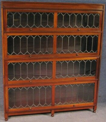 Edwardian Mahogany 4 Door Leaded Stacking Sectional Bookcase Cabinet