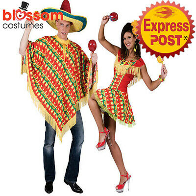 K682 Mexican Chilli Print Adult Western Couple Fancy Dress Mens Ladies Costume