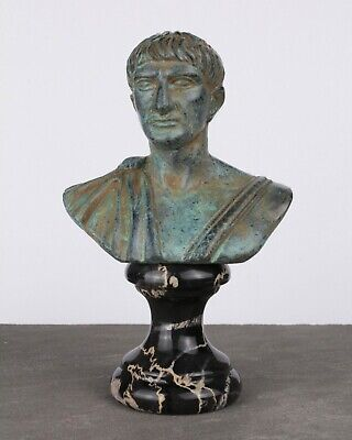 Trajan Bust Statue (Green Bronze) - Made in Europe (4.7in / 12 cm)