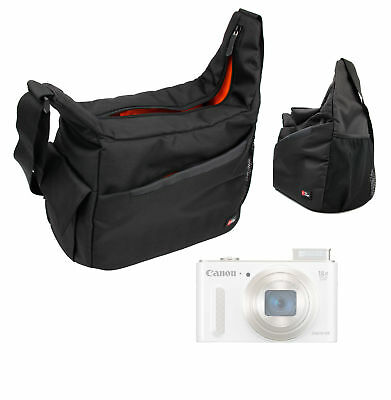 Satchel Messenger Bag in Black//Orange for Canon Powershot SX610HS SX710HS
