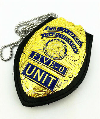 US Hawaii Five-0 Badge Hawaii 5-0 Badge With Chain Belt Leather Badge Holder