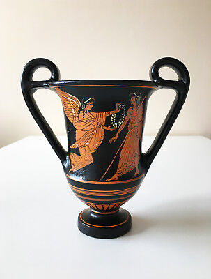 """Greek Vase Kantharos Cup with Red-figures of Nike and Zeus - (7""""/18cm)"""