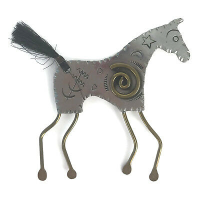 Marcia Q. Miller Handmade Primitive Cave Horse Pin Brooch Costume Jewelry
