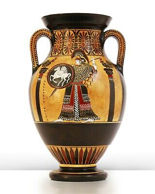 """Black-Figure Greek Amphora with Athena & Heracles - Made in Greece (9.84""""/25cm)"""