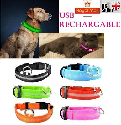 USB Rechargable LED Dog Pet Collar Flashing Luminous Safety Light Up Nylon UK